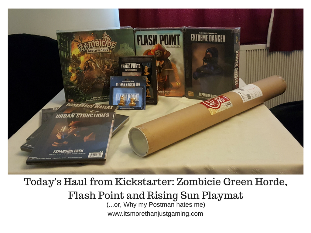 Today's Haul from Kickstarter_ Zombicie Green Horde, Flashpoint and Rising Sun Playmat